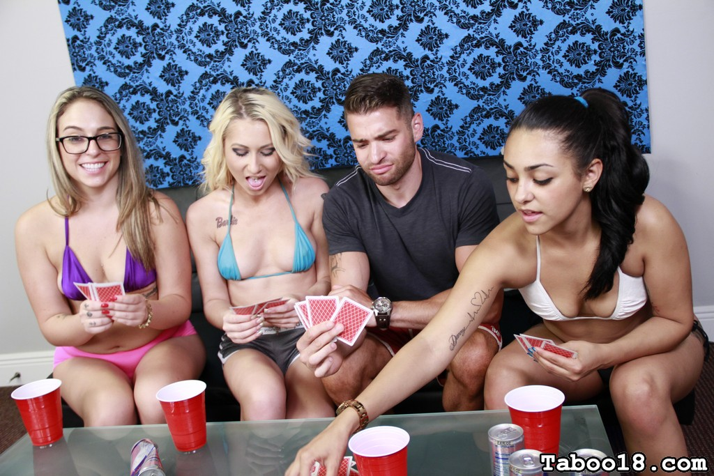 Stacie Andrews, a hot pixie blonde, definitely knows how to have a good time. She comes up with a great idea to take the party to the next level: Strip poker.